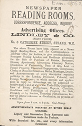 Advert For Linley & Co., Newspaper Reading Rooms